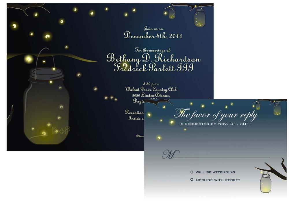 Mason Jar Fireflies Wedding Invitation And RSVP Printable Digital on